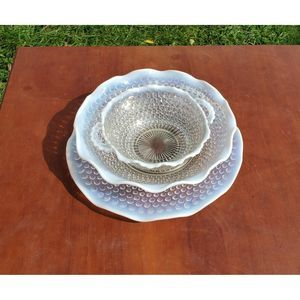 Three Mid-century Hobnail Serving Dishes perfect!